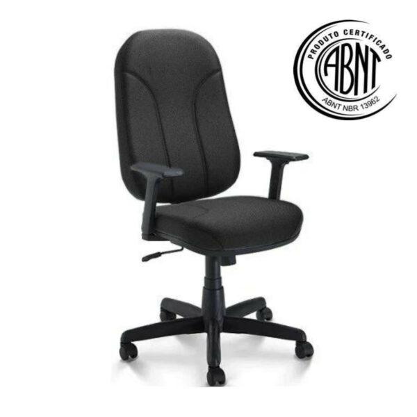 1 Cadeira para Escritório PRESIDENTE PLUS c/ Braços REGULÁVEIS - TECIDO PRETO - PLAXMETAL - 32959