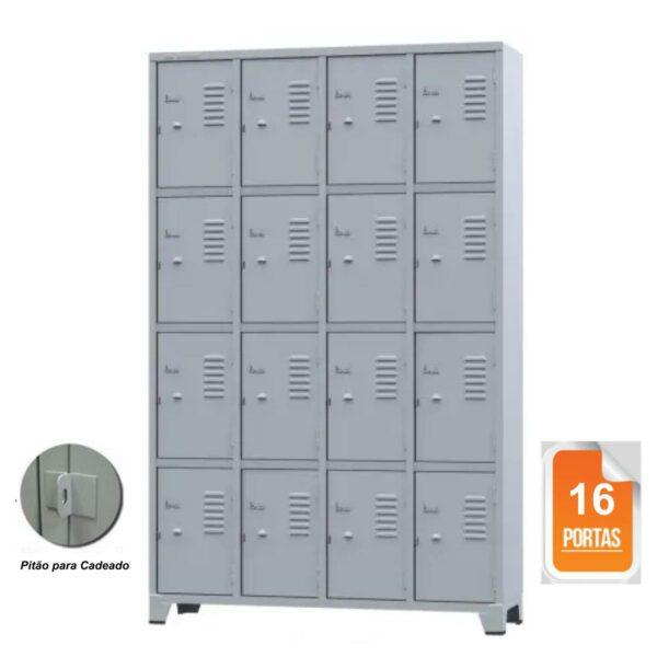 10108 CAPA Roupeiro de Aço com 16 portas Pequenas - 1,96x1,23x0,36m - CZ/CZ - AMAPA - 10108