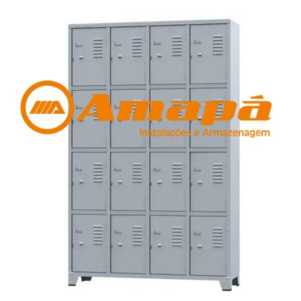 10108 LOGO Roupeiro de Aço com 16 portas Pequenas - 1,96x1,23x0,36m - CZ/CZ - AMAPA - 10108