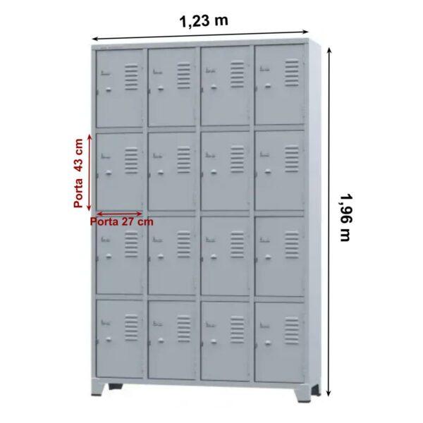 10108 MEDIDAS Roupeiro de Aço com 16 portas Pequenas - 1,96x1,23x0,36m - CZ/CZ - AMAPA - 10108