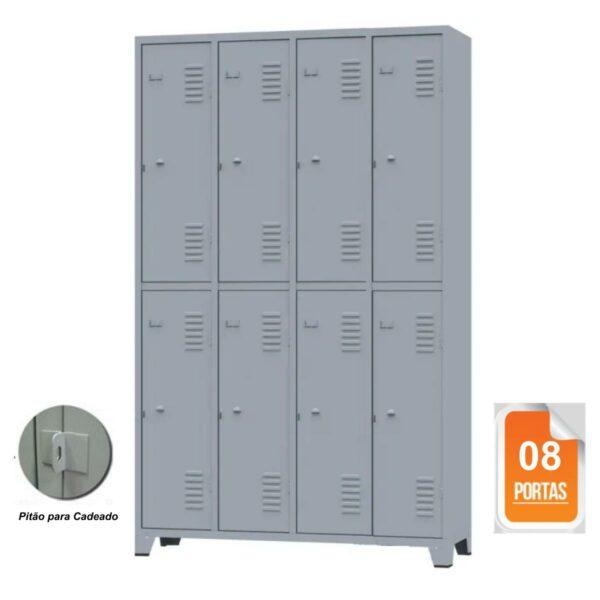 10126 CAPA Roupeiro de Aço c/ 08 portas grandes - 1,96x1,23x0,36m - CZ/CZ - AMAPA - 10126