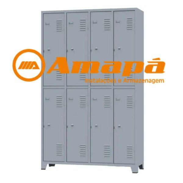 10126 LOGO Roupeiro de Aço c/ 08 portas grandes - 1,96x1,23x0,36m - CZ/CZ - AMAPA - 10126