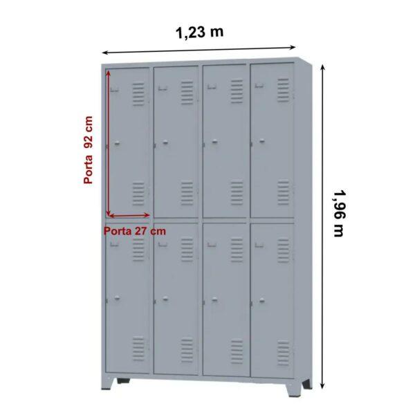 10126 MEDIDAS Roupeiro de Aço c/ 08 portas grandes - 1,96x1,23x0,36m - CZ/CZ - AMAPA - 10126