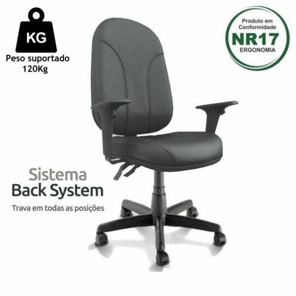10692754229 greand 4 Cadeira Presidente PLUS BACK SYSTEM Baixa Costurada c/ Braços Reguláveis - Corino Preto - PLAXMETAL - 32974