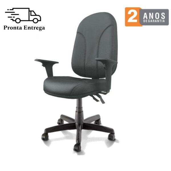 10696984049 pronta 4 Cadeira Presidente PLUS BACK SYSTEM Baixa Costurada c/ Braços Reguláveis - Corino Preto - PLAXMETAL - 32974