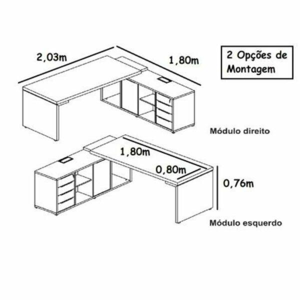 10882151488 Manual Mesa PRESIDENTE EDGE Tampo de Vidro - 2,03X1,80M - MARSALA / PRETO - WORKSTART - 99199
