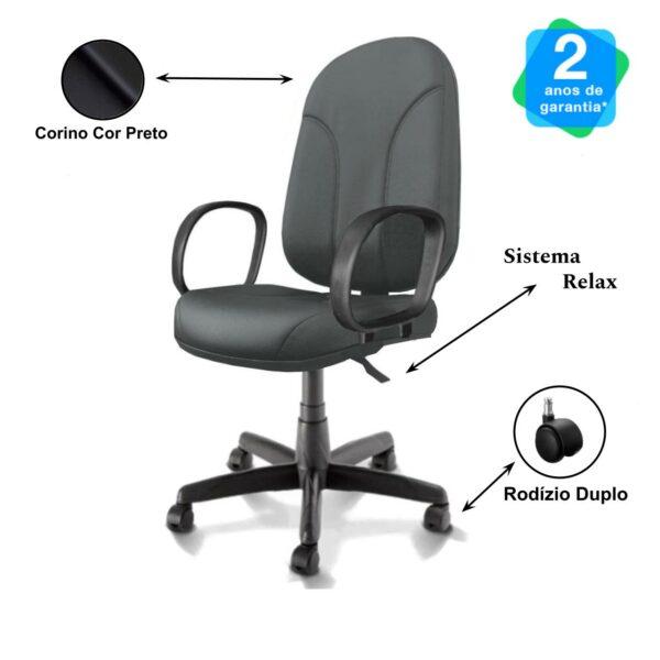 11436378571 Desenho20sem20titulo 1 Cadeira Escritório PRESIDENTE PLUS c/ BRAÇO CORSA - COR PRETO - PLAXMETAL -32957
