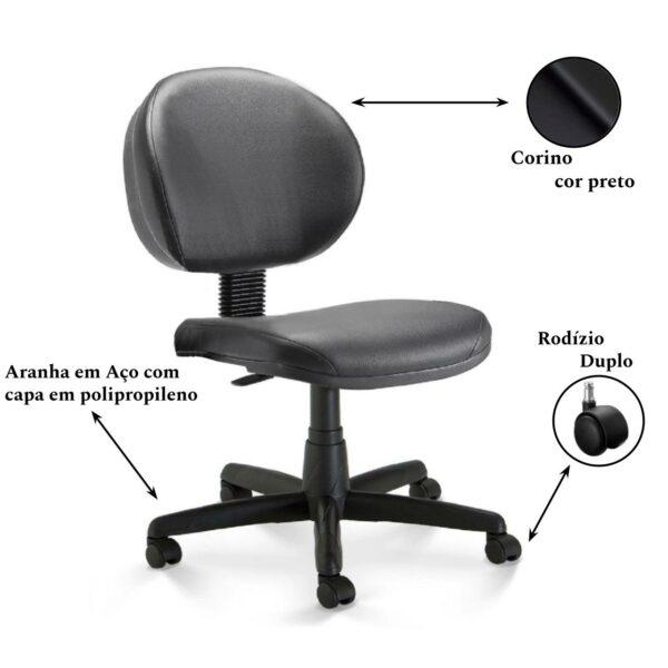 11446207517 rodizio 1 Cadeira Escritório Executiva PLUS LISA S/ BRAÇOS - COR PRETO - PLAXMETAL - 32976