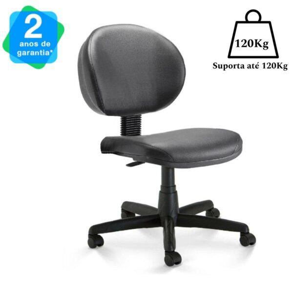 11446392100 220anos 1 Cadeira Escritório Executiva PLUS LISA S/ BRAÇOS - COR PRETO - PLAXMETAL - 32976