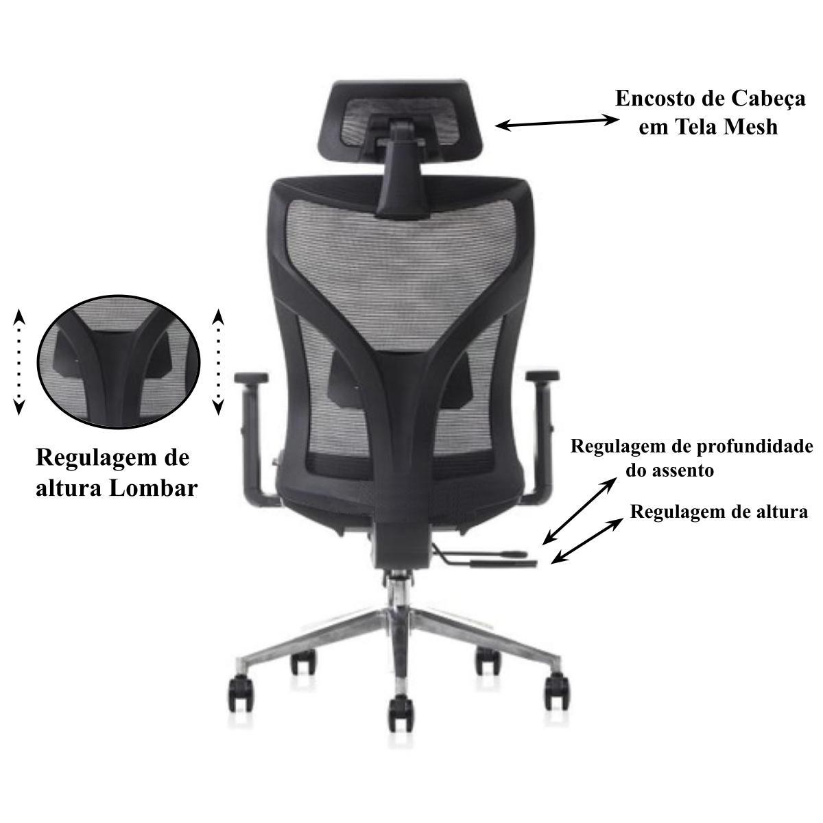 Cadeira Escritório Presidente Tela com Base Alumínio - Cadeira Escritório Goiânia