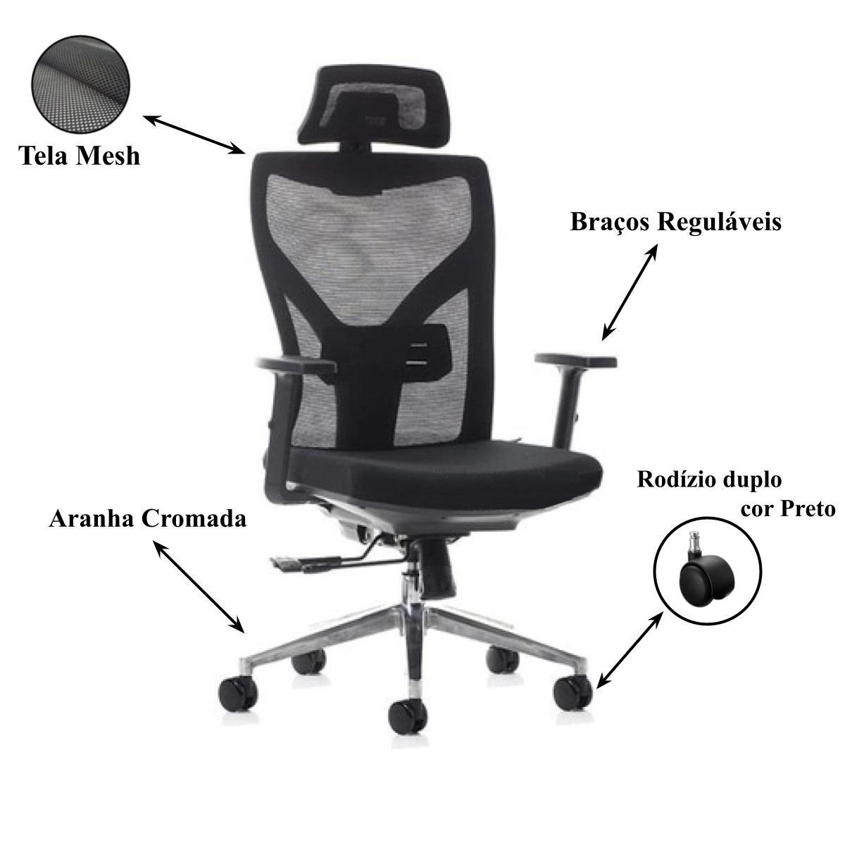 Cadeira Escritório Presidente Tela com Base Alumínio