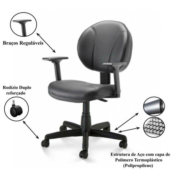 11724267063 itens 1 Cadeira de Escritório Executiva PLUS COSTURADA c/ Braços Reguláveis - 32980
