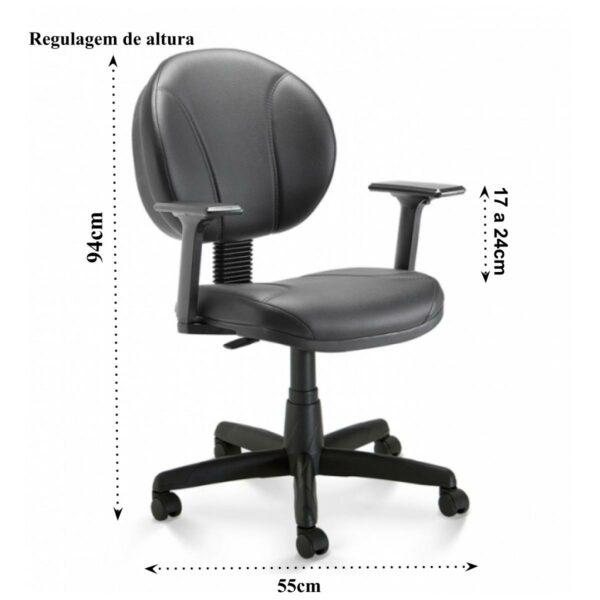 11724619537 costurada 1 Cadeira de Escritório Executiva PLUS COSTURADA c/ Braços Reguláveis - 32980