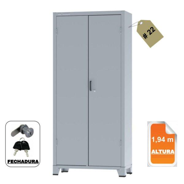 12113 CAPA Armário de Aço c/ 02 portas REFORÇADO - (PA - 90) - 1,98x0,90x0,40m - Chapa # 22 - Cinza- 12113