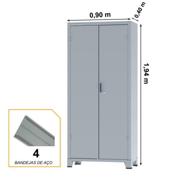 12113 MEDIDAS Armário de Aço c/ 02 portas REFORÇADO - (PA - 90) - 1,98x0,90x0,40m - Chapa # 22 - Cinza- 12113