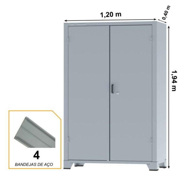 12115 MEDIDAS Armário de Aço c/ 02 portas REFORÇADO - PA 120 - 1,98x0,1,20x0,40m - CHAPA # 22 - AMAPA - 12115