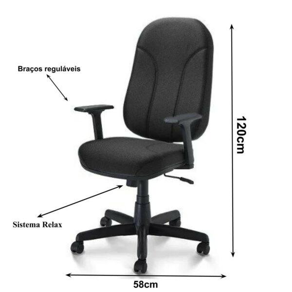 2 1 Cadeira para Escritório PRESIDENTE PLUS c/ Braços REGULÁVEIS - TECIDO PRETO - PLAXMETAL - 32959