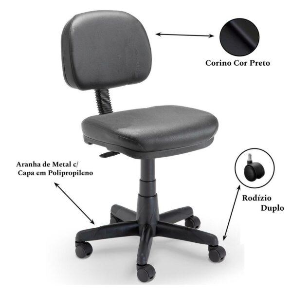 2 3 Cadeira SECRETÁRIA Giratória S/ BRAÇOS - COR PRETO - PLAXMETAL - 32969