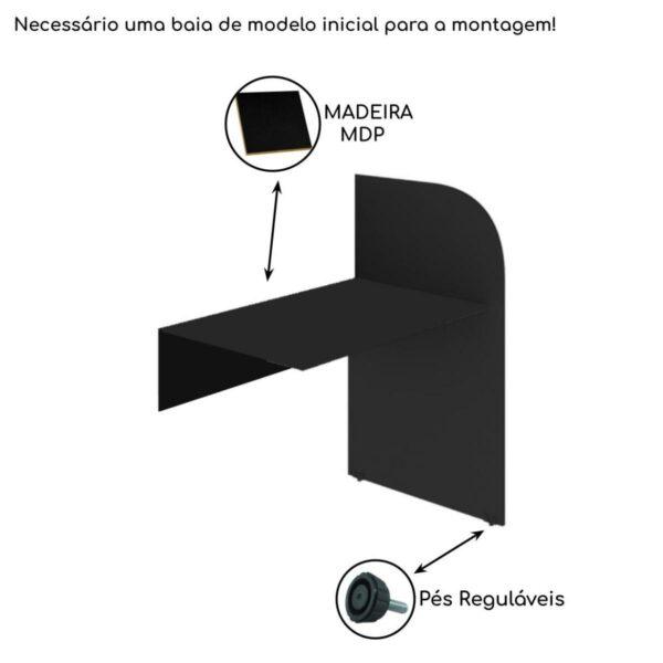 24016 ATRIBUTOS Baia CONTINUAÇÃO para Atendimento 1,20x0,80x0,60m - MARANELO - PRETA/PRETA - 24016