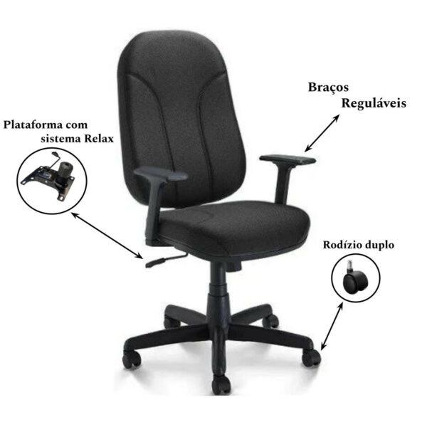 3 1 Cadeira para Escritório PRESIDENTE PLUS c/ Braços REGULÁVEIS - TECIDO PRETO - PLAXMETAL - 32959