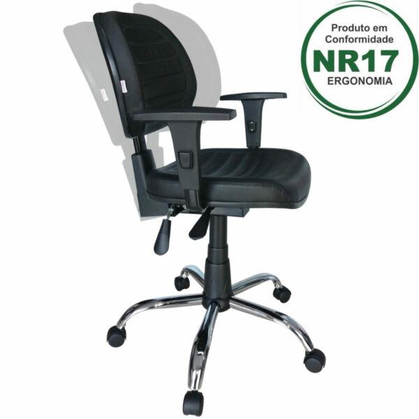 4260406770 31008 com bracos 2 Cadeira Executiva Back System COSTURADA - ARANHA CROMADA - Braços Reguláveis - Cor Preta - MARTIFLEX - 31011