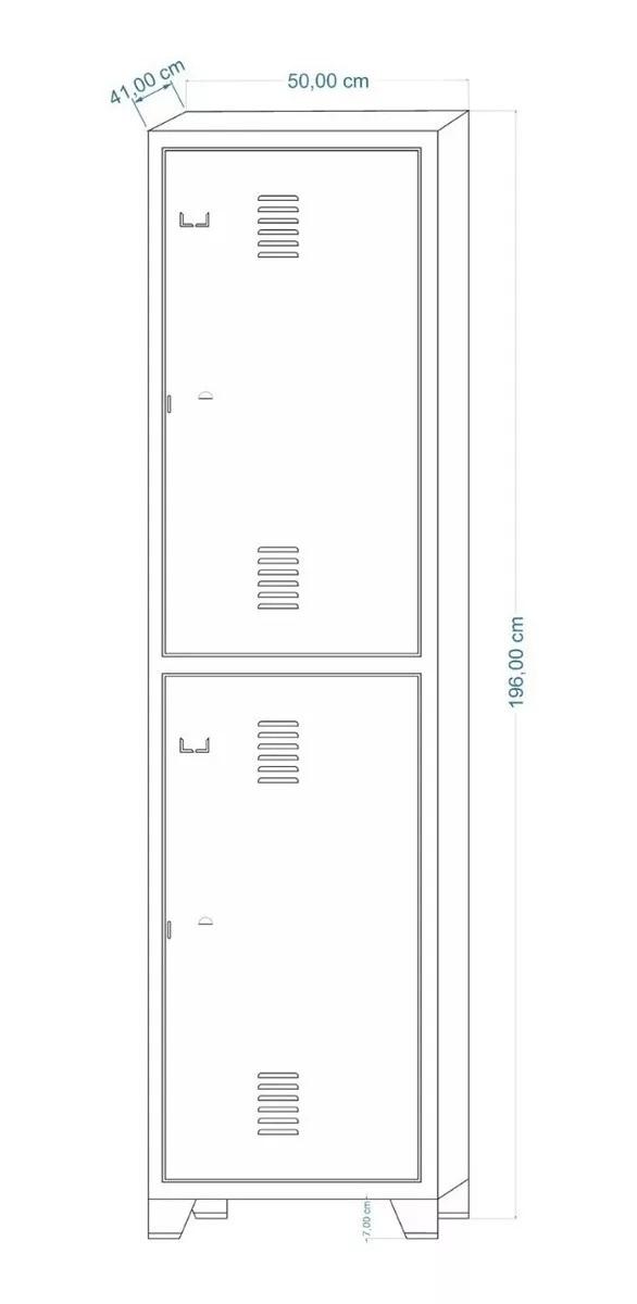 6787013074 INS202 Roupeiro de Aço INSALUBRE c/ 02 Portas - 1,96x0,50x0,41m - CZ/CZ - AMAPA - 10110