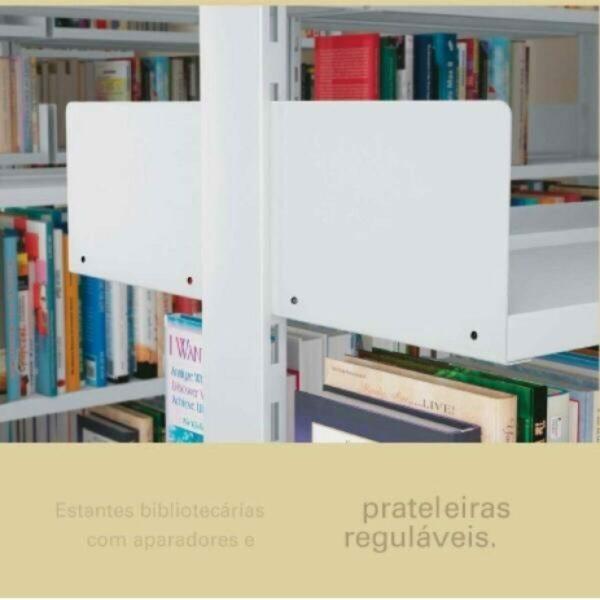 7925703627 biblioteca parede lateral1 Estante Biblioteca de PAREDE com 06 Bandejas - 1,98x0,92x0,30m - NOBRE - 11108