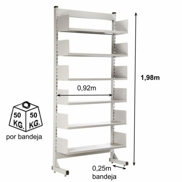 7925704858 bibliotecaria parede medidas peso Estante Biblioteca de PAREDE com 06 Bandejas - 1,98x0,92x0,30m - NOBRE - 11108