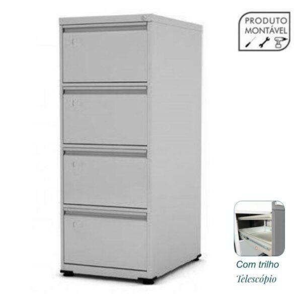 7957581477 Principal20com20trilho Arquivo de Aço 04 Gav - CHAPA # 24 - TRILHO TELESC - (67cm) - 1,36x0,47x0,67m - CZ/CZ - PANDIN - 13003 .