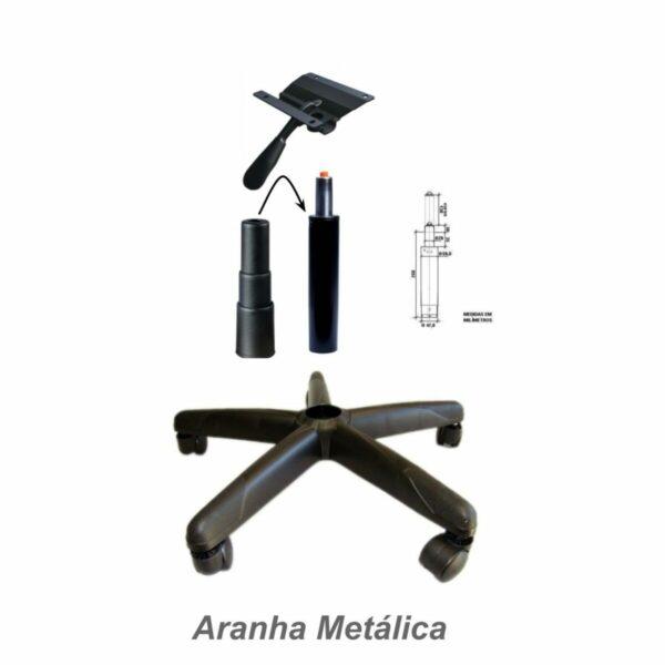 7966623613 base giratoria desmembrada 2 Cadeira Escritório Executiva PLUS LISA S/ BRAÇOS - COR PRETO - PLAXMETAL - 32976