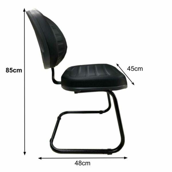 """7986242724 Medidas Cadeira Executiva Costurada Base em """"S"""" PRETA - Cor Preta - MARTIFLEX - 31014"""
