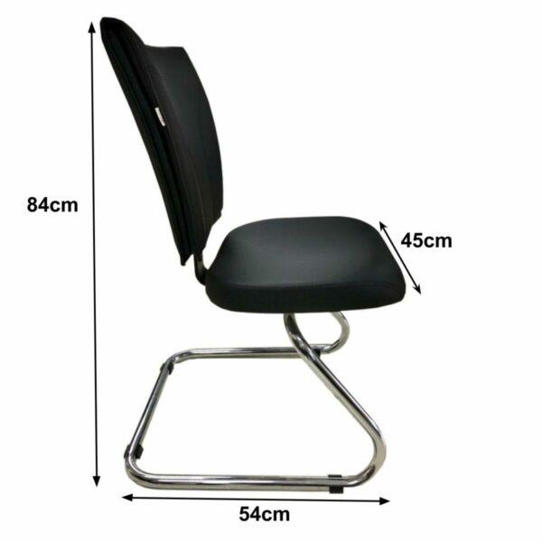 """7986762018 Medidas Cadeira Escritório B-ONE Base em """"S"""" CROMADA - MARTIFLEX - 31033"""