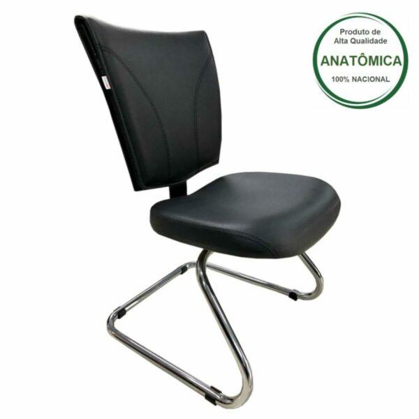 """7986762398 Principal Cadeira Escritório B-ONE Base em """"S"""" CROMADA - MARTIFLEX - 31033"""