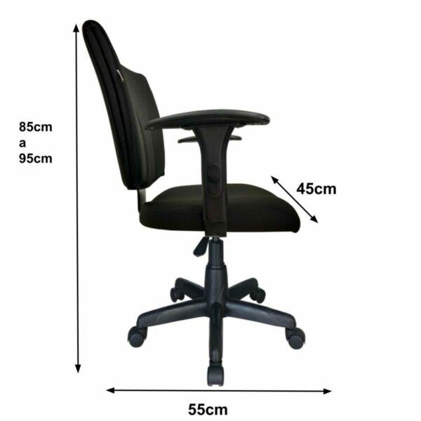 7988391236 b one medidas Cadeira B-ONE Giratória com Braços Reguláveis - Cor Preta - MARTIFLEX - 31009