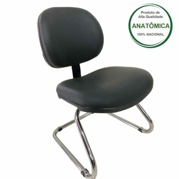 "7991700047 c3fb5d58 2dd3 4f02 921c 254fcc0f78f8 Cadeira Executiva LISA Base em ""S"" CROMADA - Cor Preta - MARTIFLEX - 31015"