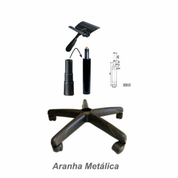 8005829308 aranha Metalica Cadeira Executiva Back System Lisa c/ Braços reguláveis - Cor Preta - MARTIFLEX - 31006
