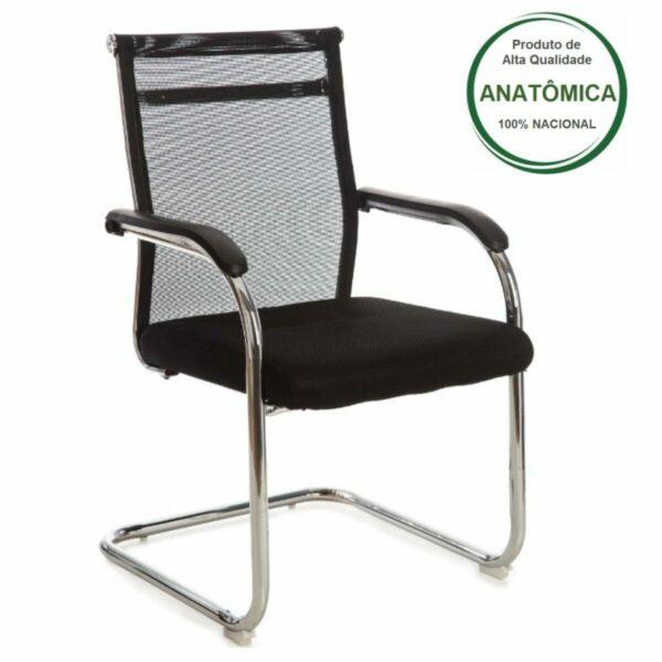 8009918742 Desenho20sem20titulo202 1 Cadeira Interlocutor Tela OR-3312 (Fixa) Cromada - Cor Preta - 31018