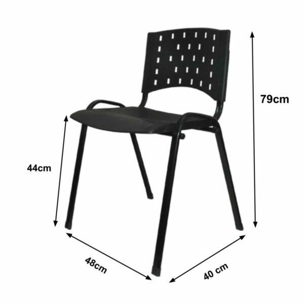 8010645911 Medidas Cadeira Plástica REALPLAST 04 pés-Plástico Preto (Polipropileno) - 31201