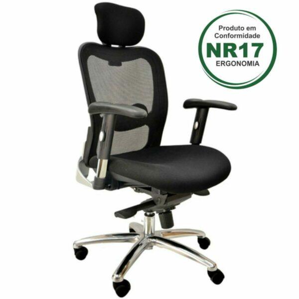 8025734765 ergonomica 1 Poltrona Presidente TELA - MK-4002 - (New Ergon) - Cor Preta - 30014
