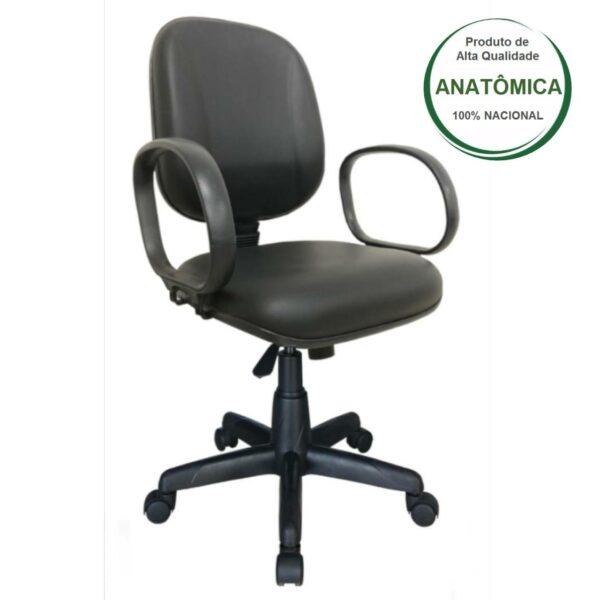 8032479156 frente 1 Cadeira Diretor LISA Giratória - Braço Corsa - Corino Preto - MARTIFLEX - 30201