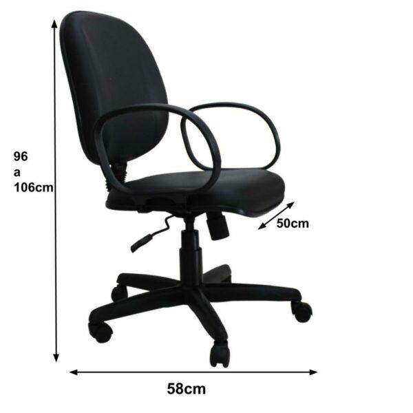 8032566544 medidas Cadeira Diretor LISA Giratória - Braço Corsa - Corino Preto - MARTIFLEX - 30201