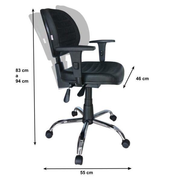 8063351706 backsystem cromada 20medidas 1 Cadeira Executiva Back System COSTURADA - ARANHA CROMADA - Braços Reguláveis - Cor Preta - MARTIFLEX - 31011