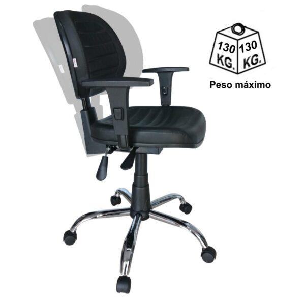 8063356070 back system cromada peso 1 Cadeira Executiva Back System COSTURADA - ARANHA CROMADA - Braços Reguláveis - Cor Preta - MARTIFLEX - 31011