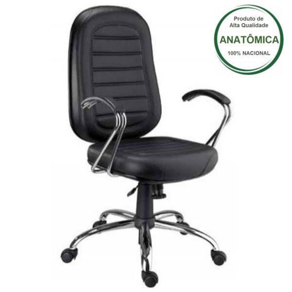 8152236989 cromada 1 Cadeira Presidente BAIXA Base e Braços Cromados (Torcido) - COR PRETA - MARTIFLEX - 30104