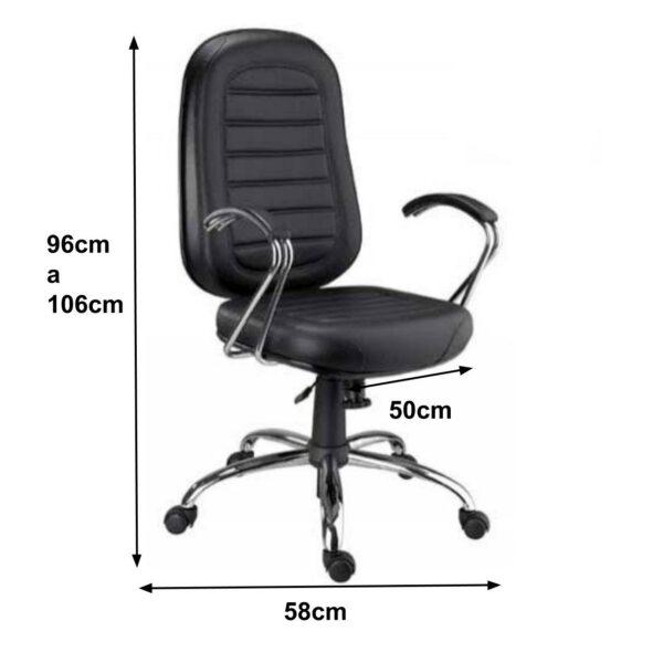 8155532161 medidas 1 Cadeira Presidente BAIXA Base e Braços Cromados (Torcido) - COR PRETA - MARTIFLEX - 30104