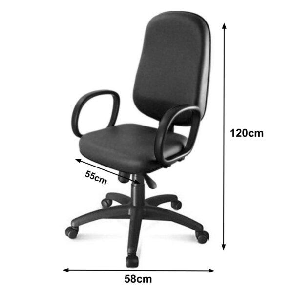 8164309345 medidas 1 Cadeira Presidente BAIXA LISA ( BRAÇO CORSA ) - COR PRETA - MARTIFLEX - 30101