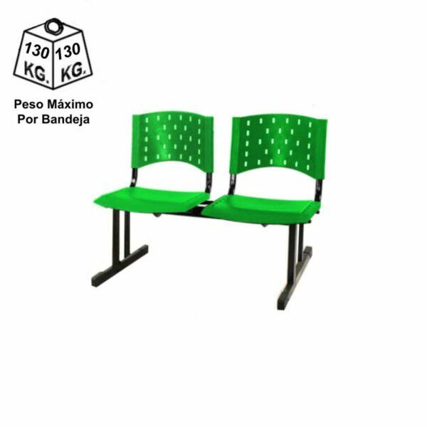 8206538655 peso Cadeira Longarina PLÁSTICA 02 Lugares - Cor Verde - REALPLAST - 33068