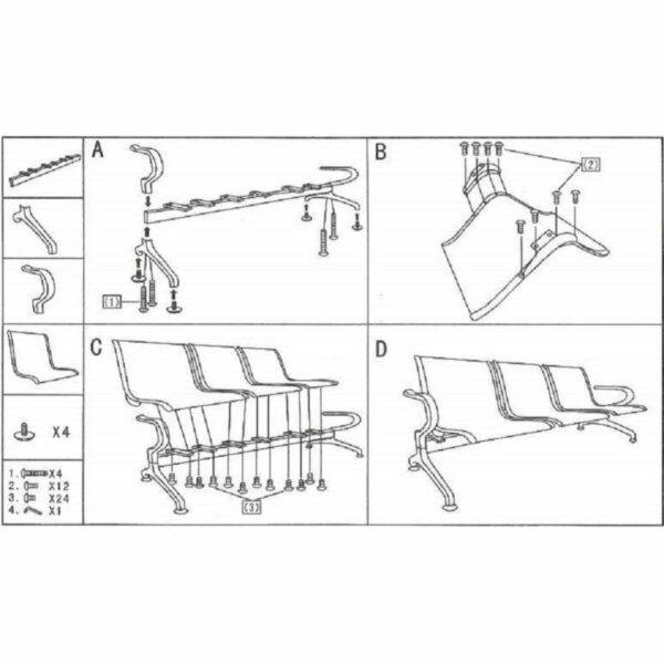 8212403544 manual Longarina AEROPORTO com 03 Lugares - Cor Cromado - ORDESIGN - 33108