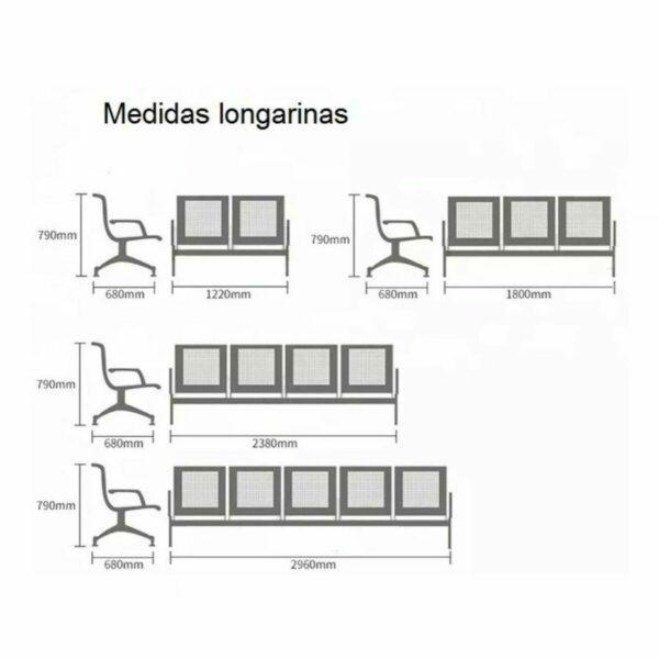 8216990615 medidas Longarina AEROPORTO com 04 Lugares - Cor Cromada - ORDESIGN - 33109