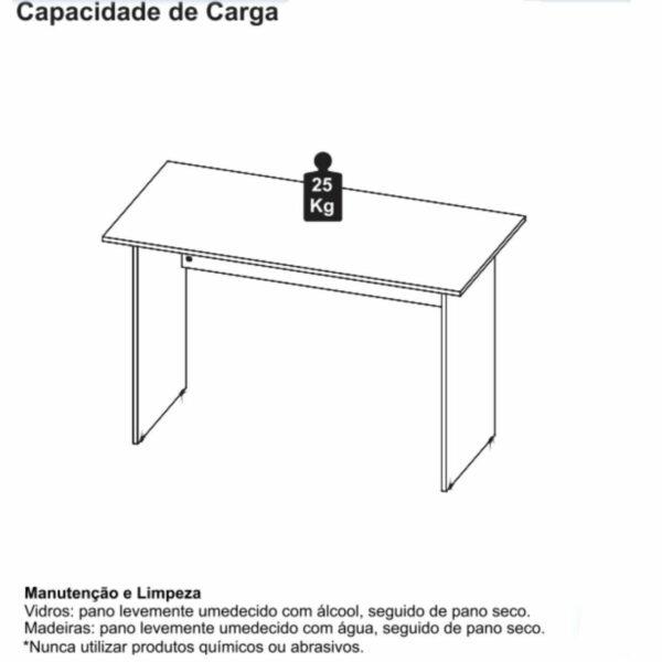 8428678318 peso Mesa Escritório 1,50x0,60m -02 Gavetas - GEBBWORK - NOGAL SEVILHA/PRETO - 21473